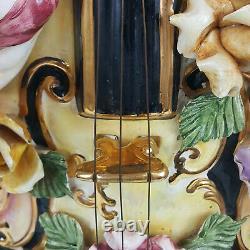 Lampe De Style Capodimonte Sous Forme De Violon Et Cherubs (peu De Chips)