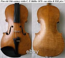 Old 19th C Master Violin C. F. Mueller 1870 -vidéo- Antique 957