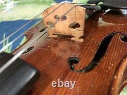 Old Antique 4/4 Violon Allemand Août Heberlein Vintage