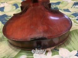 Old Vintage Violon 4/4 Antique Belle Flamme Pjw