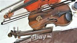 Paire Deux Rares Violons Anciens Anciens Pour La Restauration Et La Réparation