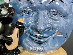 Rare Anthropomorphe Lustre Man Moon Black Cat Hat Fiddle Planter Vase Allemagne