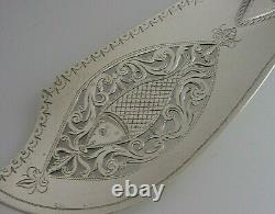 Rare Double Crest Wildman Tracy Familles Solid Sterling Silver Fish Slice 1833