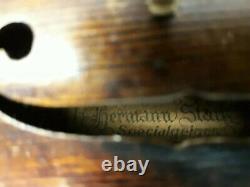 Très Rare Vintage Hermann Stark Violon De Fabrication Allemande