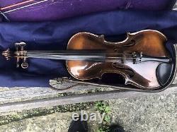 Vieille Copie Allemande Antique Violon C1920s Scroll Grafté 4/4