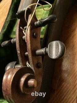 Vieux Vieux Violon Antique Pour Pièces Ou Restauration Avec Boîtier Et Arc. Sans Marque