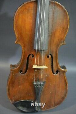 Vieux Vieux Violon De Conservatoire Vintage Avec Bow 4/4