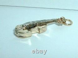Vintage 14k Yellow & White Gold 3d Violine Musique Pendant Charm