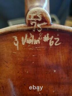 Vintage John Juzek Prague Violon Tchèque 3/4 Instrument Avecbow En Cas Dur As Is