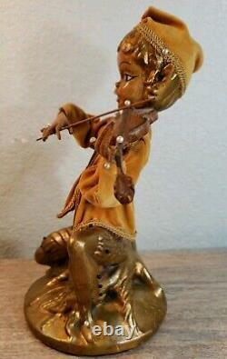 Vintage MID Century Pixie Elf Jouer Violon Figures Signé Rare