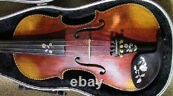 Violon 4/4 Fiddle Old Antique Vintage Utilisé Beautiful Incrusté