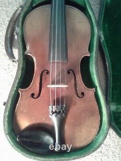 Violon, Utilisé, 4/4, Violon, Vieux, Antique, Vintage, Beau Dos Incrusté