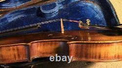 Violon Vieux 4/4 Fiddle Vintage Antique Utilisé Dans Le Dos Incrusté