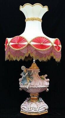 Vtg Antique Lampe De Table En Porcelaine Capodimonte Avec L'ombre Violon Provincial Français